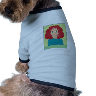 Curly Haired Girl Dog T Shirt