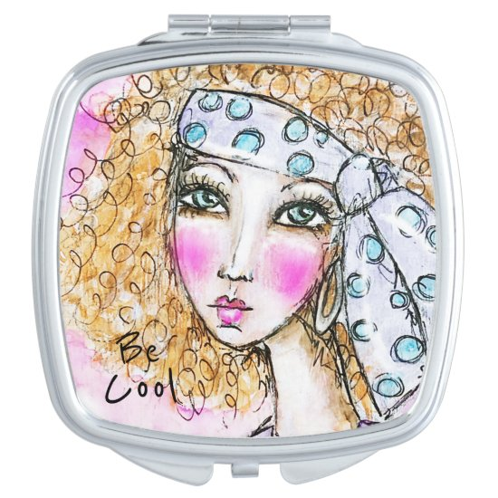 Curly Haired Girl Pink Fun Whimsical Artistic Blue Compact Mirror