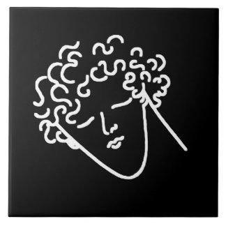 curly haired youth large square tile