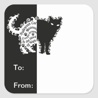 Curly Halloween Black Cat Gift Tags