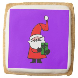 Curly Hat Santa With Gift Square Premium Shortbread Cookie