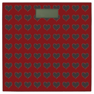 Curly Heart Black on Red Weight Scale Bathroom Scale