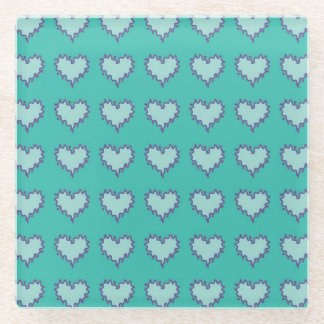 Curly Heart Blue Green Glass Drink Coaster