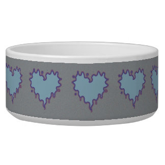 Curly Heart Light Blue on Gray Ceramic Pet Bowl