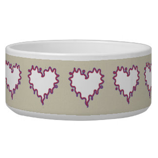 Curly Heart White on Taupe Ceramic Dog Bowl