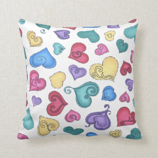 CURLY HEARTS by SHARON SHARPE Throw Pillow