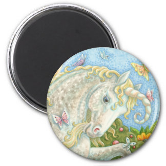 Curly Horned Unicorn Fantasy ROUND MAGNET