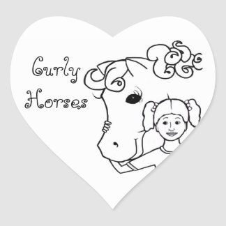 Curly Horse and Girl Heart Sticker
