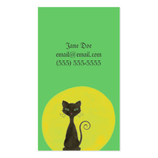 Curly Kitty & Moon Calling Card Double-Sided Standard Business Cards (Pack Of 100)