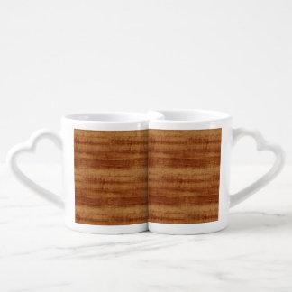 Curly Koa Acacia Wood Grain Look Coffee Mug Set