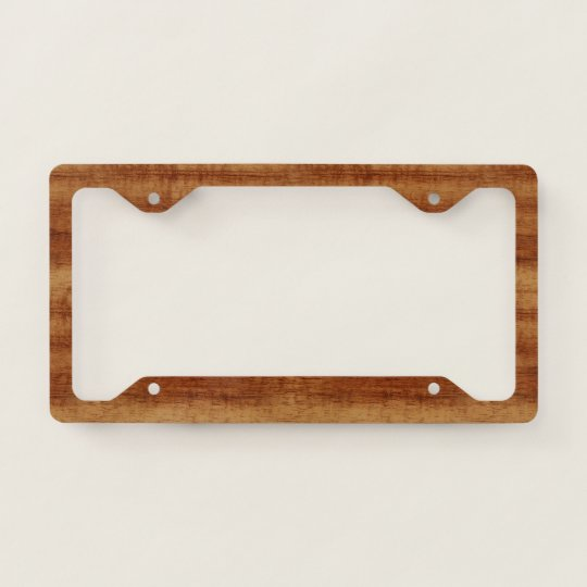 Curly Koa Acacia Wood Grain Look License Plate Frame