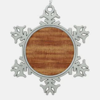 Curly Koa Acacia Wood Grain Look Snowflake Pewter Christmas Ornament