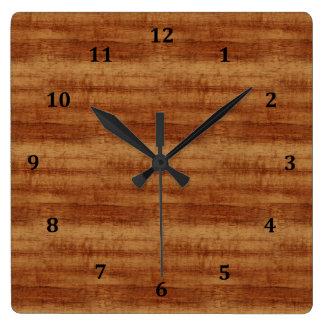 Curly Koa Acacia Wood Grain Look Square Wall Clock