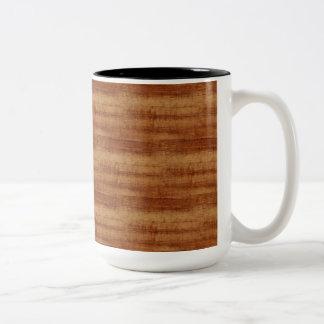Curly Koa Acacia Wood Grain Look Two-Tone Coffee Mug