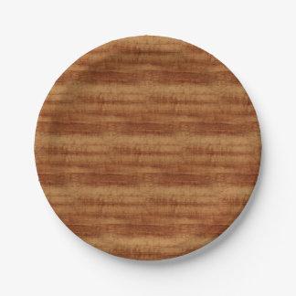 Curly Koa Wood Grain Look Paper Plate