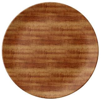 Curly Koa Wood Grain Look Porcelain Plate