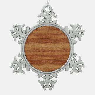 Curly Koa Wood Grain Look Snowflake Pewter Christmas Ornament