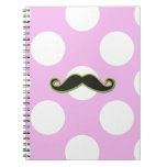 Curly Moustache, Polka Dots - Black Green Pink Note Books