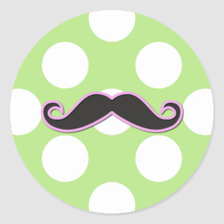 Curly Moustache, Polka Dots - Black Pink Green Classic Round Sticker