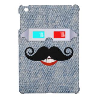 Curly Mustache, 3D Glasses and Faded Denim Pattern iPad Mini Case