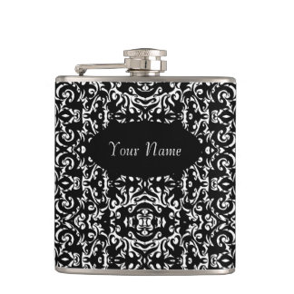 Curly Mustache Damask Graphic Art Design Hipster Hip Flask