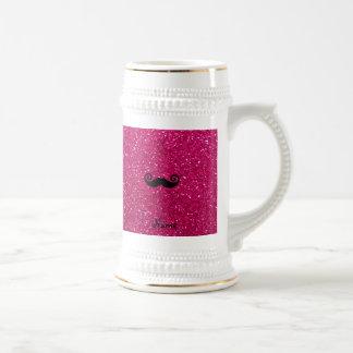 Curly mustache neon hot pink glitter 18 oz beer stein