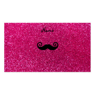 Curly mustache neon hot pink glitter Double-Sided standard business cards (Pack of 100)
