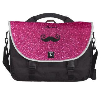 Curly mustache neon hot pink glitter commuter bags