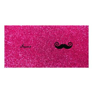 Curly mustache neon hot pink glitter photo card