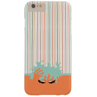 Curly Natural, Teal Eye Shadow and blue stripe Barely There iPhone 6 Plus Case
