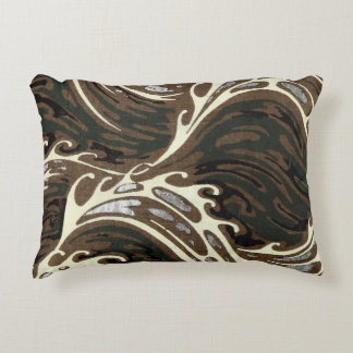 Curly Ocean Waves Decorative Pillow