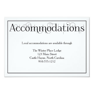 """Curly Print Wedding Accommodations Details Card 3.5"""" X 5"""" Invitation Card"""