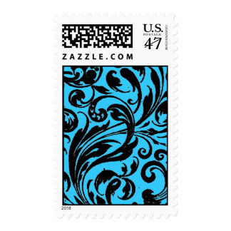 Curly Q Scroll Damask Type Graphic Art Design Postage