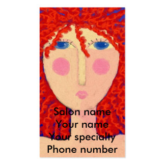 Curly Red Hair Stylist Business Card