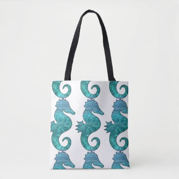 Beach Themed Curly Seahorse Beach Tote