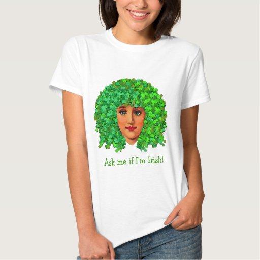 Curly Shamrock Girl Tee Shirts