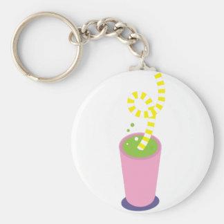 Curly straw milkshake key chains