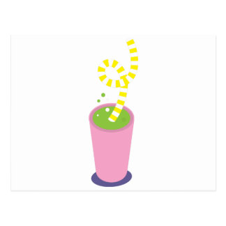 Curly straw milkshake postcard