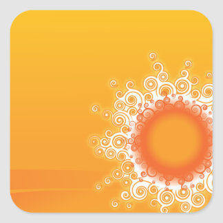 Curly Sunshine Customizable Design Square Stickers