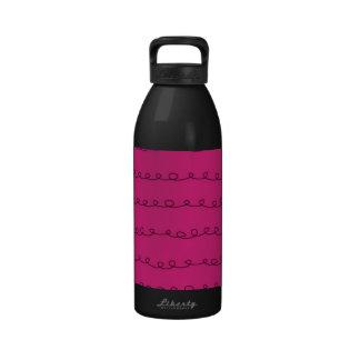 Curly Swirls (Curved Swirls) - Black Pink Reusable Water Bottle