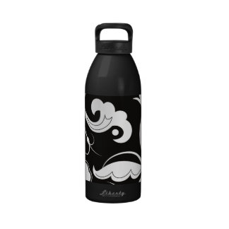 Curly Swirls (Curved Swirls) - Black White Reusable Water Bottle