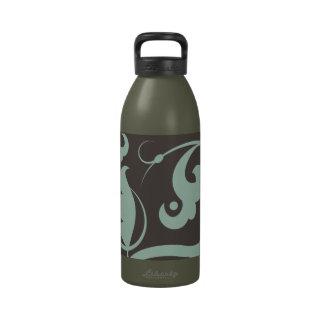 Curly Swirls (Curved Swirls) - Blue Gray Reusable Water Bottle