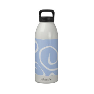 Curly Swirls (Curved Swirls) - Blue White Reusable Water Bottles
