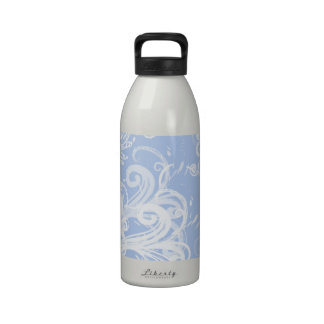 Curly Swirls (Curved Swirls) - Blue White Water Bottles