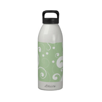 Curly Swirls (Curved Swirls) - Green White Water Bottles