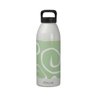 Curly Swirls (Curved Swirls) - Green White Drinking Bottles