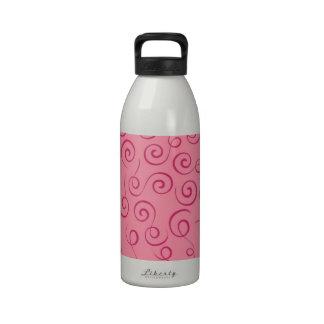 Curly Swirls (Curved Swirls) - Pale Pink Drinking Bottle