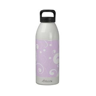 Curly Swirls (Curved Swirls) - Purple White Drinking Bottles