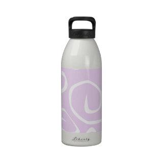 Curly Swirls (Curved Swirls) - Purple White Reusable Water Bottles
