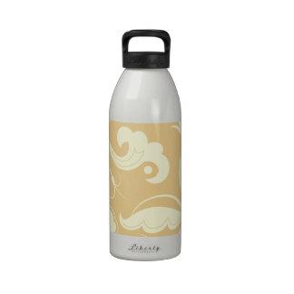 Curly Swirls (Curved Swirls) - Yellow Reusable Water Bottle